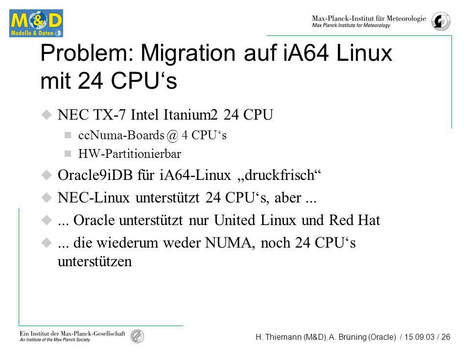 Problem: Migration auf iA64 Linux mit 24 CPU's