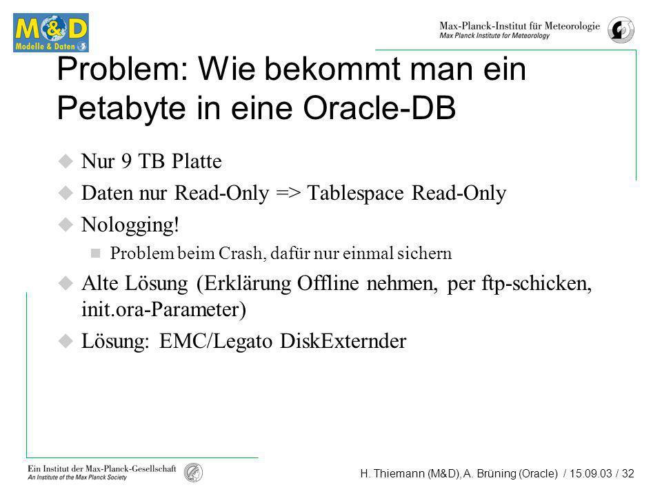 Problem: Wie bekommt man ein Petabyte in eine Oracle-DB