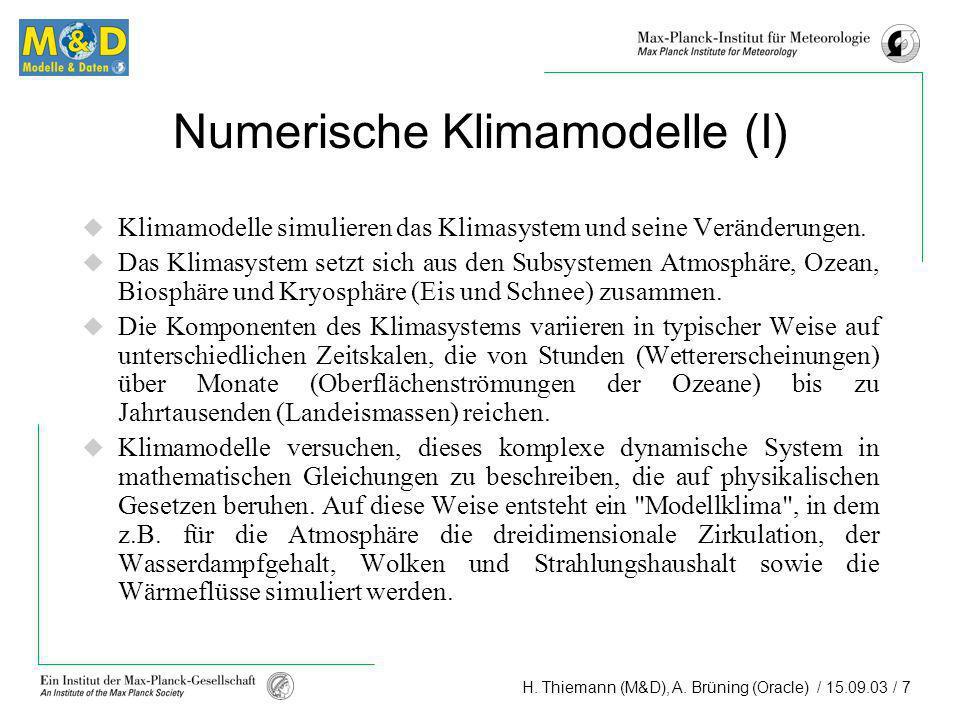 Numerische Klimamodelle (I)