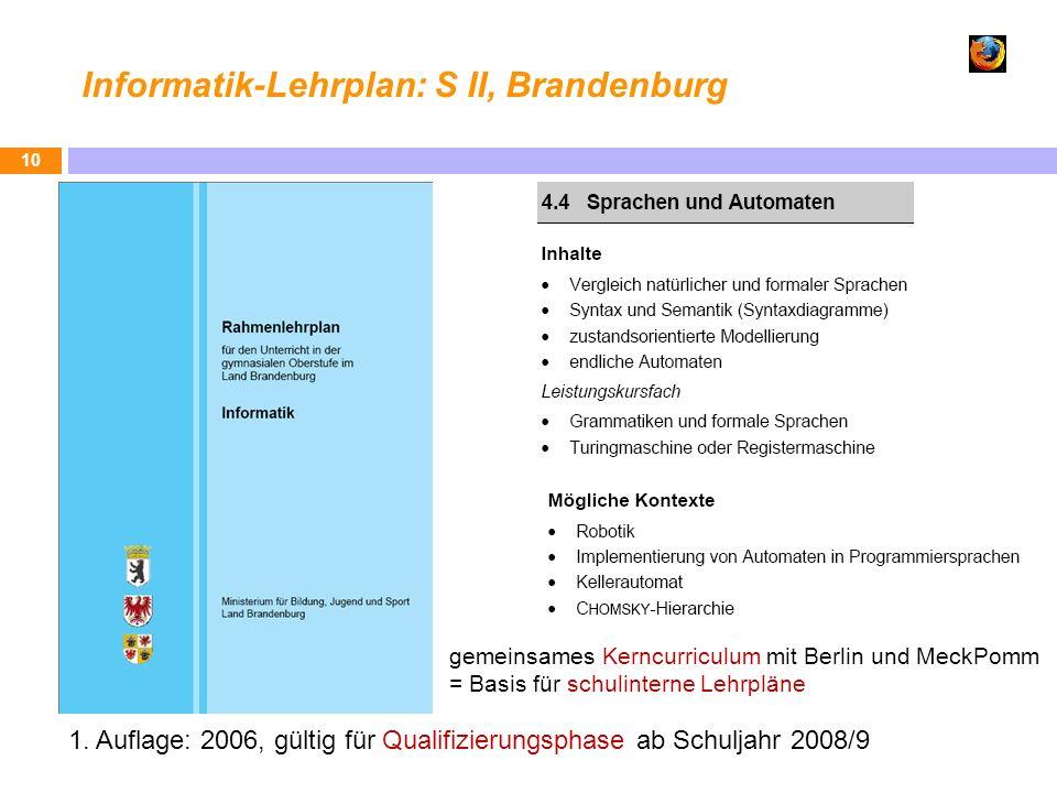 Informatik-Lehrplan: S II, Brandenburg