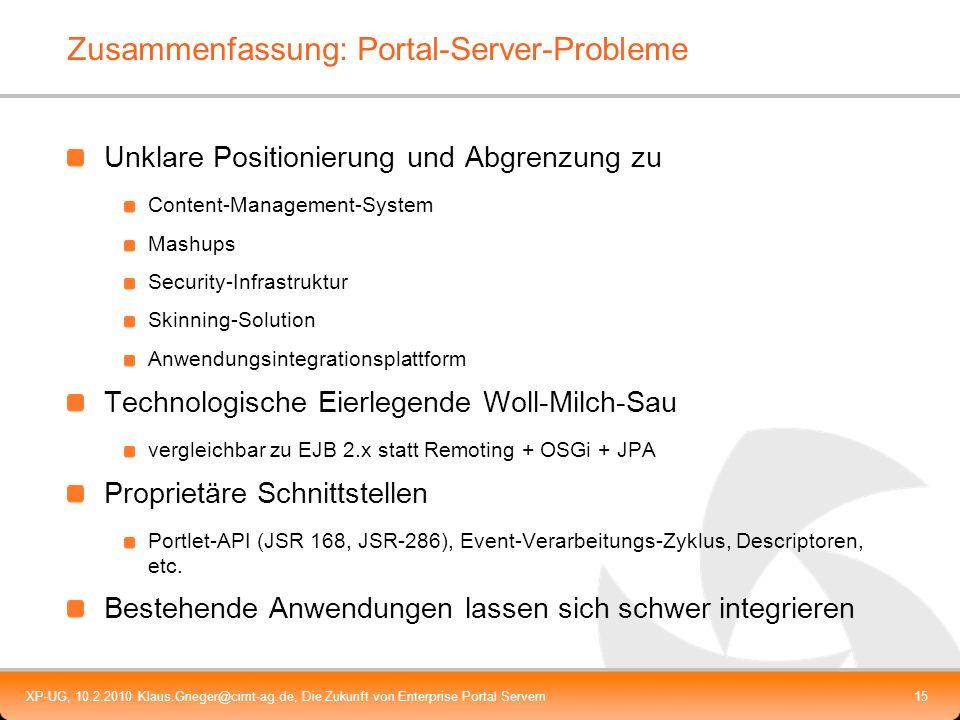 Zusammenfassung: Portal-Server-Probleme