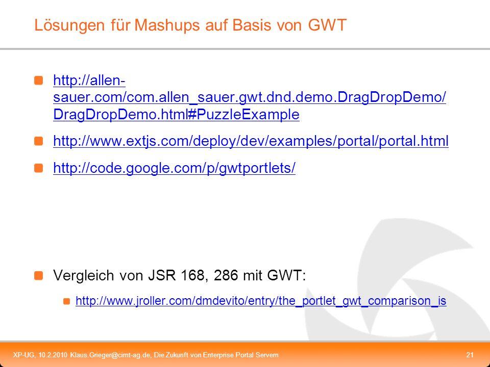 Lösungen für Mashups auf Basis von GWT