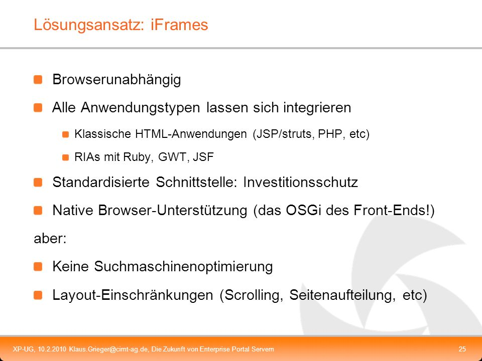 Lösungsansatz: iFrames