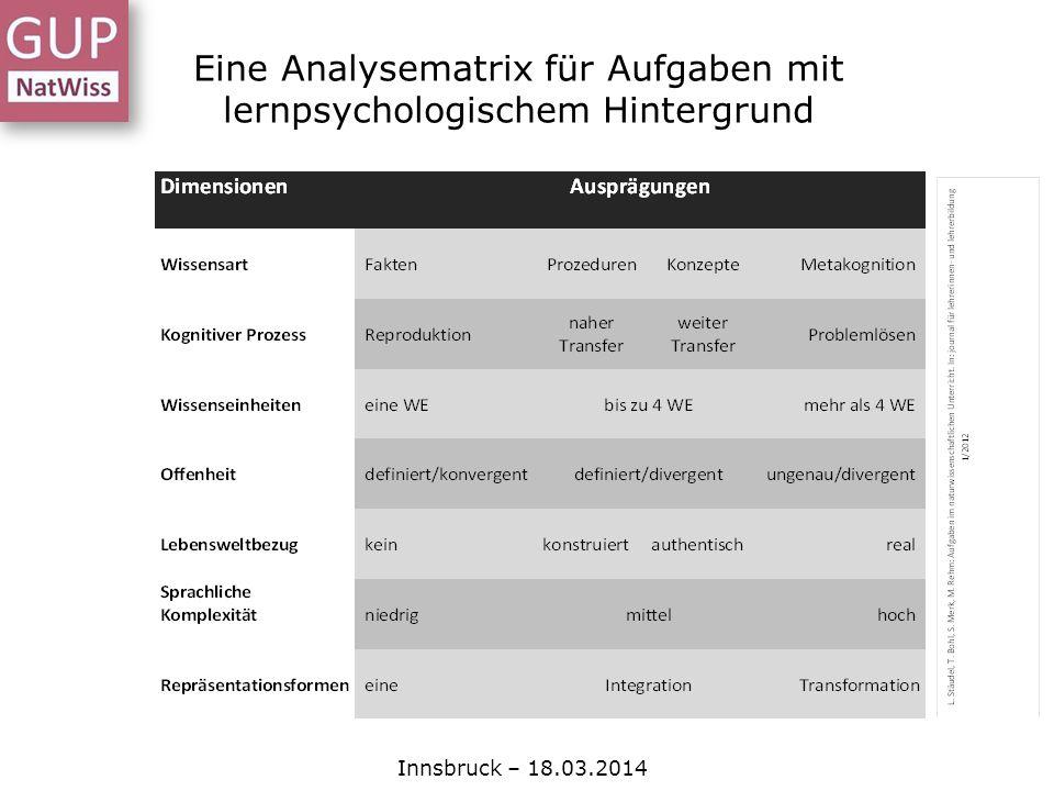 Eine Analysematrix für Aufgaben mit lernpsychologischem Hintergrund