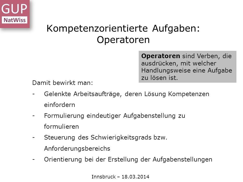 Kompetenzorientierte Aufgaben: Operatoren