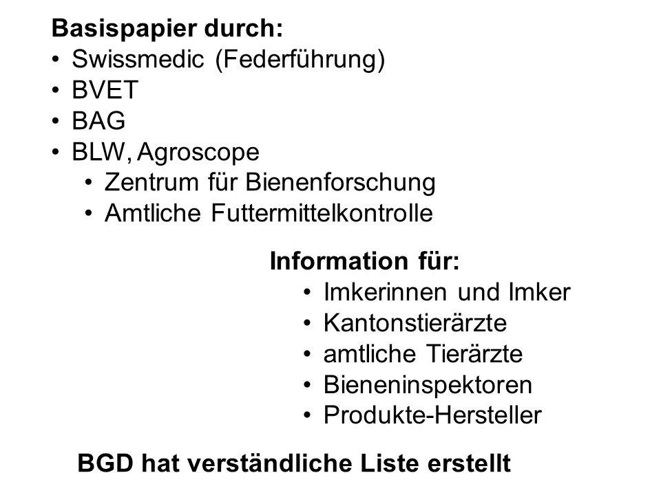 Swissmedic (Federführung) BVET BAG BLW, Agroscope