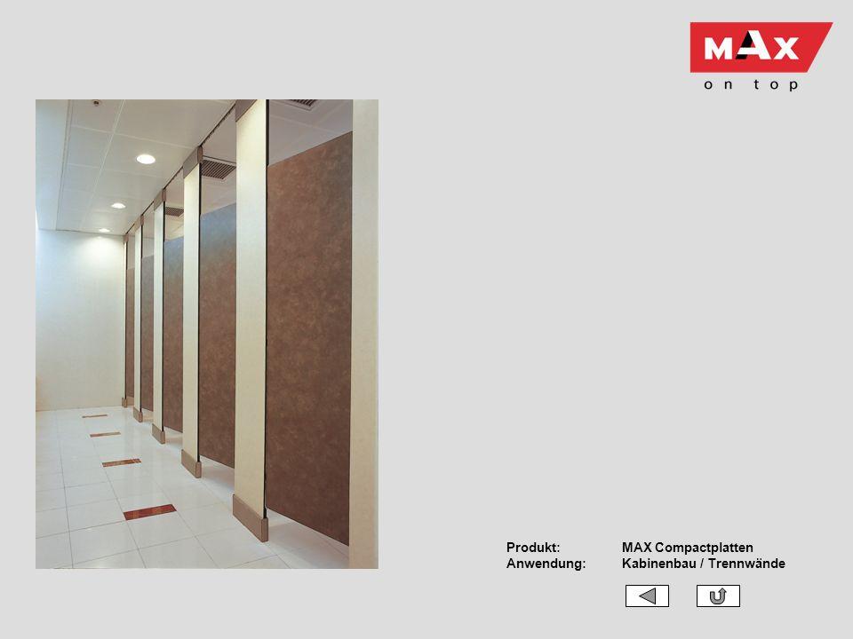 Produkt: MAX Compactplatten Anwendung: Kabinenbau / Trennwände