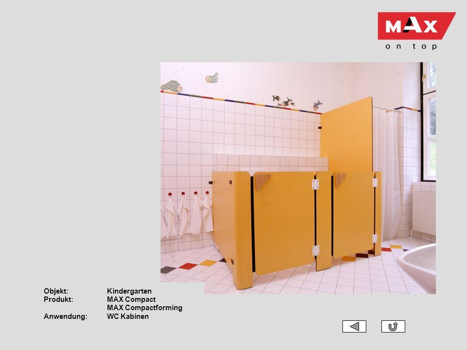 Objekt: Kindergarten Produkt: MAX Compact MAX Compactforming Anwendung: WC Kabinen