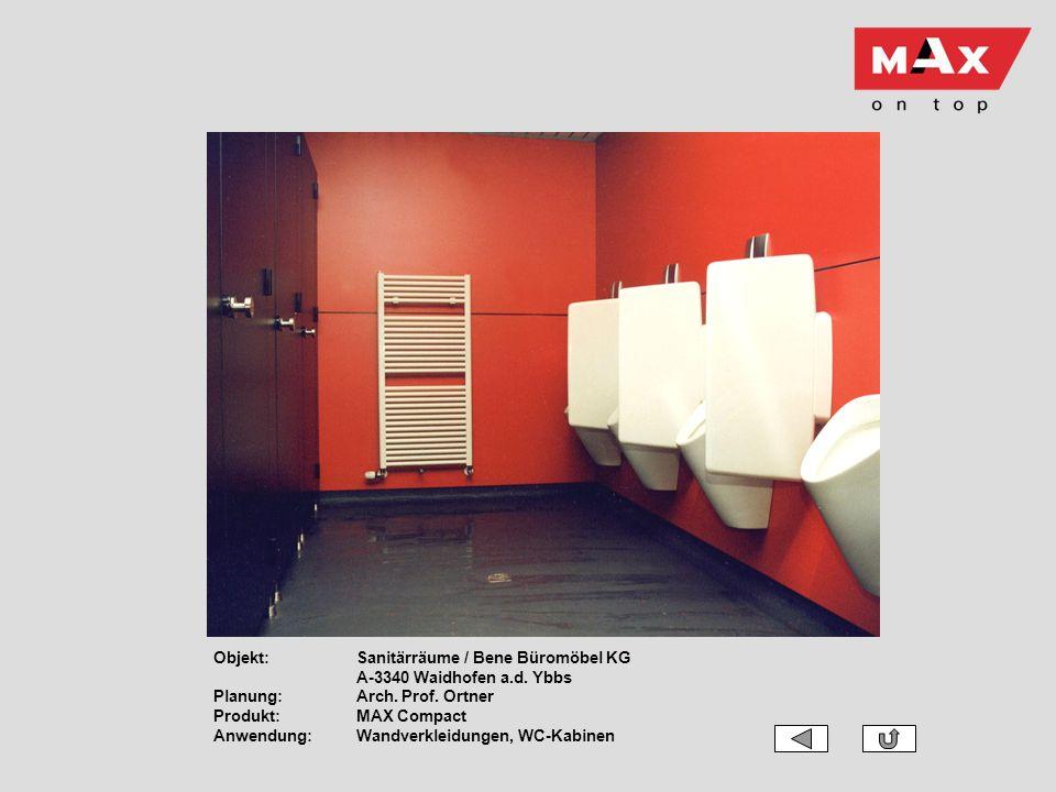 Objekt:. Sanitärräume / Bene Büromöbel KG. A-3340 Waidhofen a. d. Ybbs