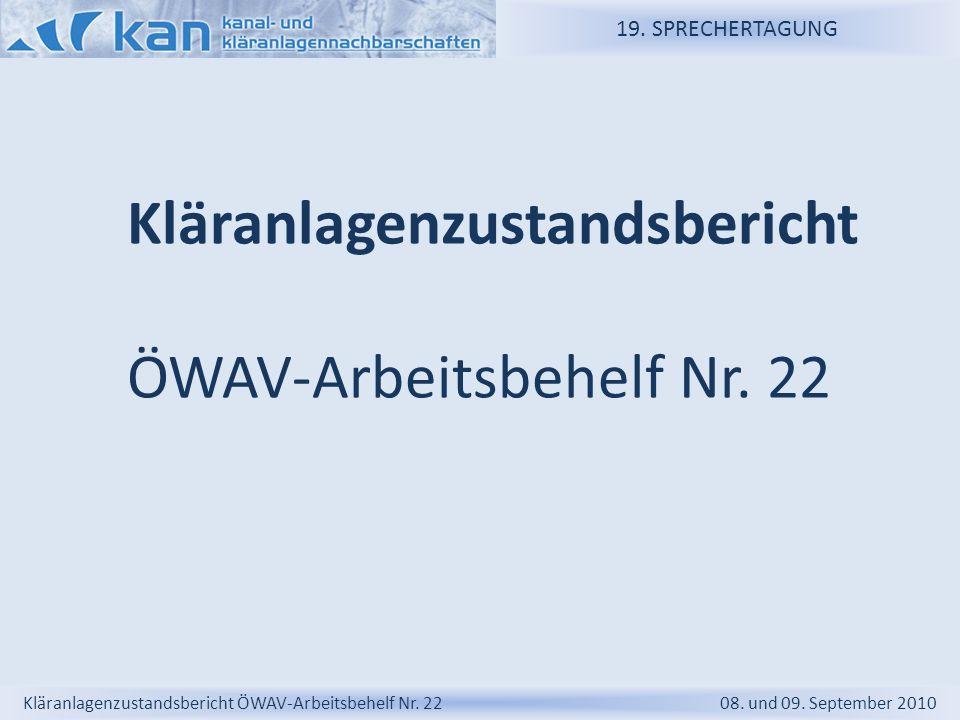 Kläranlagenzustandsbericht ÖWAV-Arbeitsbehelf Nr. 22
