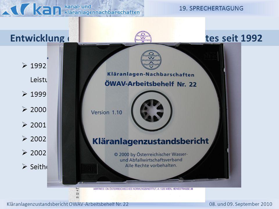 Entwicklung des Kläranlagenzustandsberichtes seit 1992