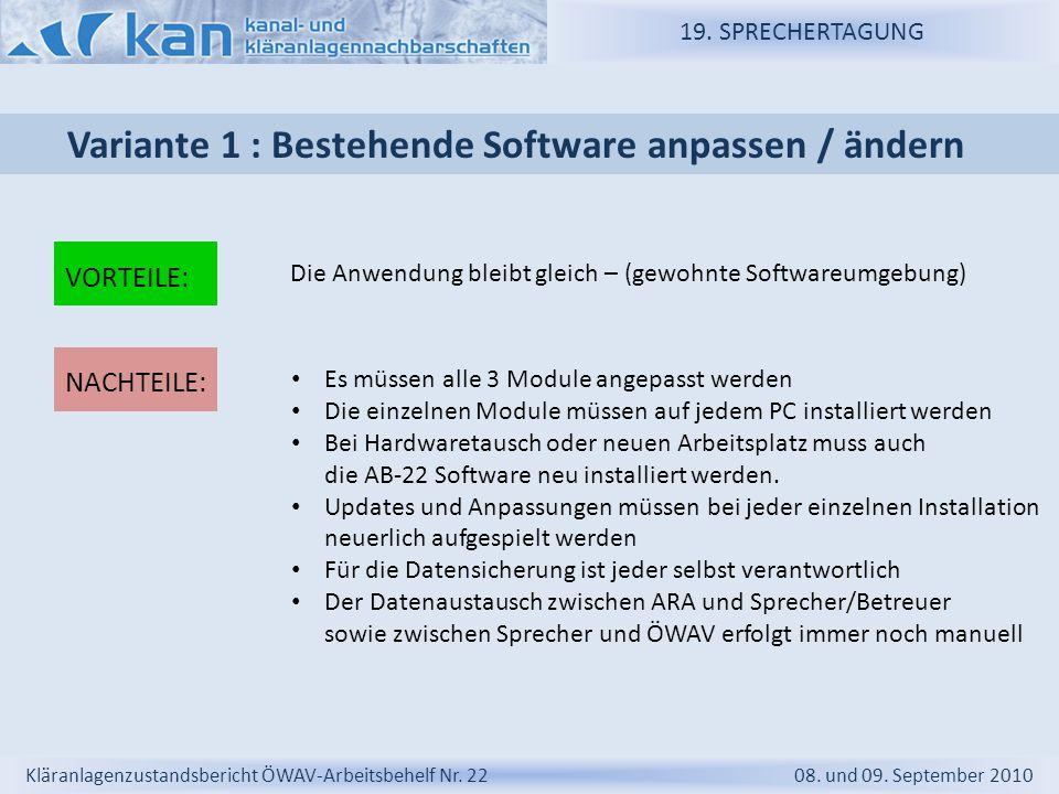 Variante 1 : Bestehende Software anpassen / ändern