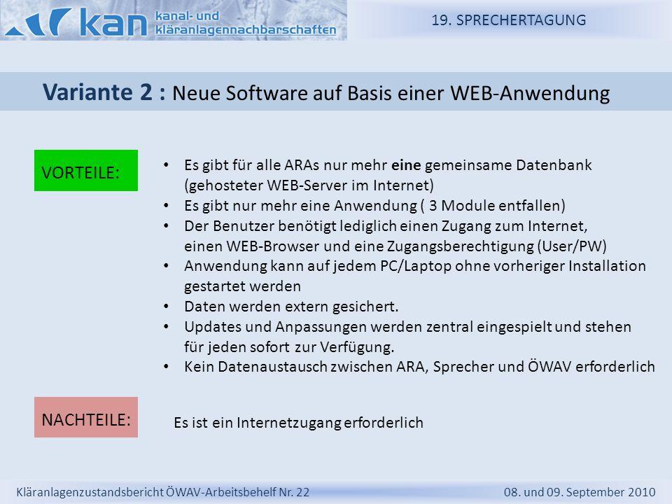 Variante 2 : Neue Software auf Basis einer WEB-Anwendung