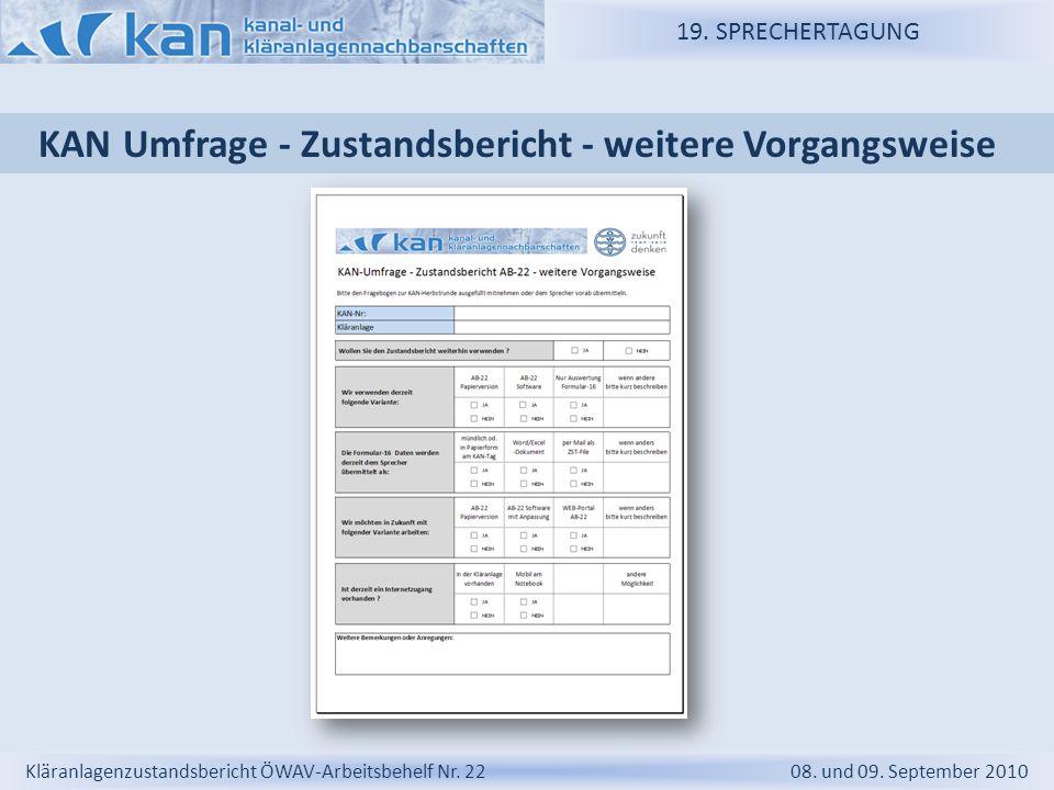 KAN Umfrage - Zustandsbericht - weitere Vorgangsweise