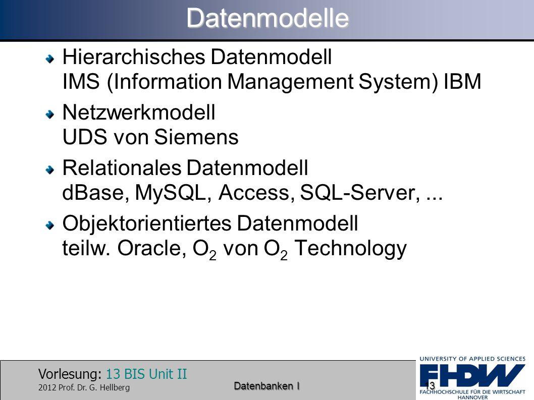 Datenmodelle Hierarchisches Datenmodell IMS (Information Management System) IBM. Netzwerkmodell UDS von Siemens.