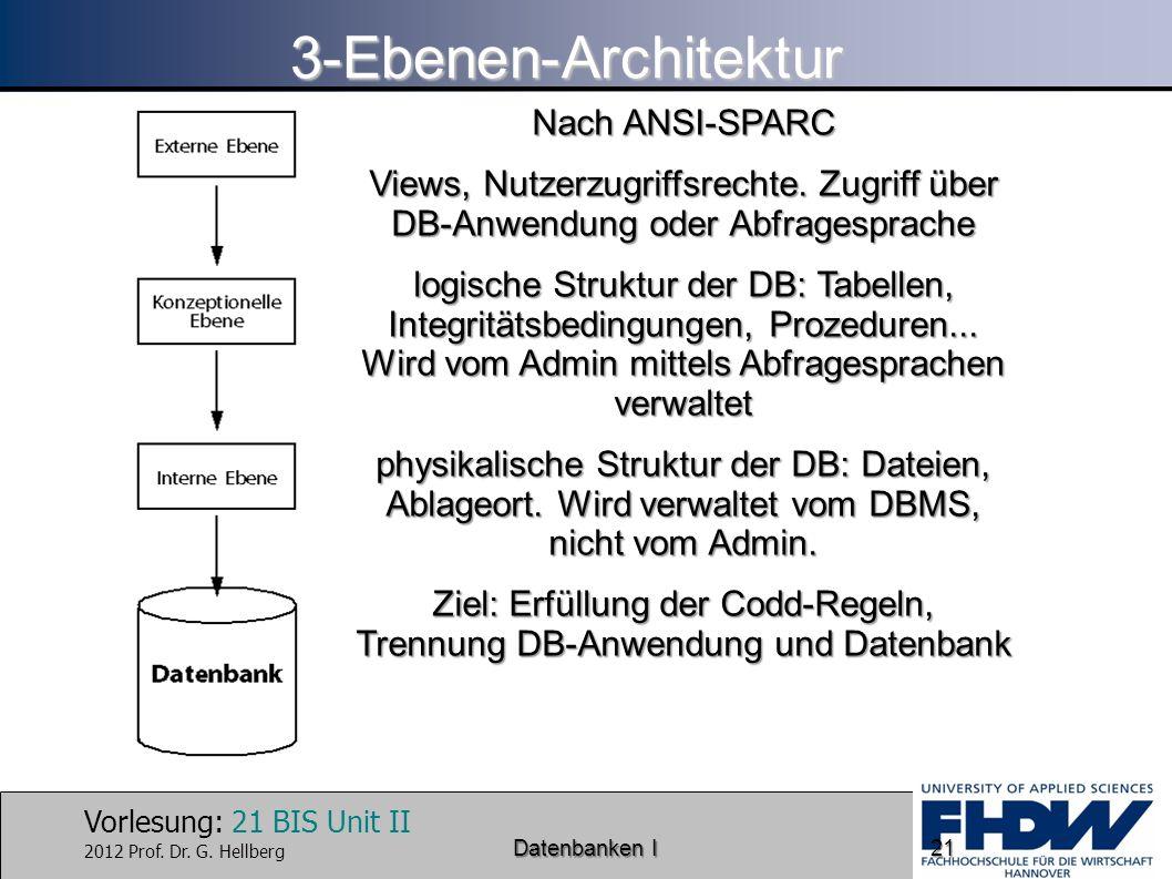 Ziel: Erfüllung der Codd-Regeln, Trennung DB-Anwendung und Datenbank