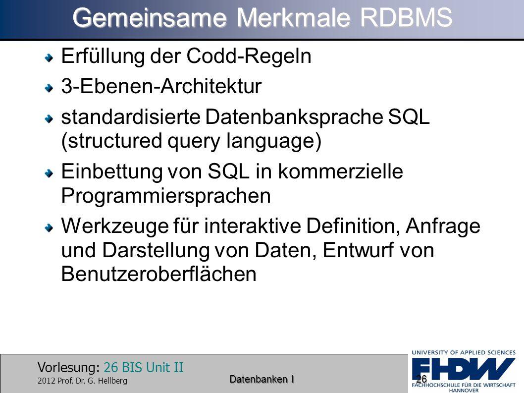 Gemeinsame Merkmale RDBMS