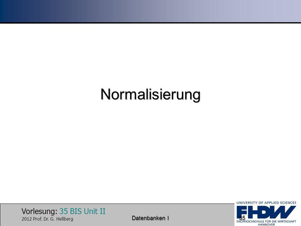 Normalisierung Datenbanken I