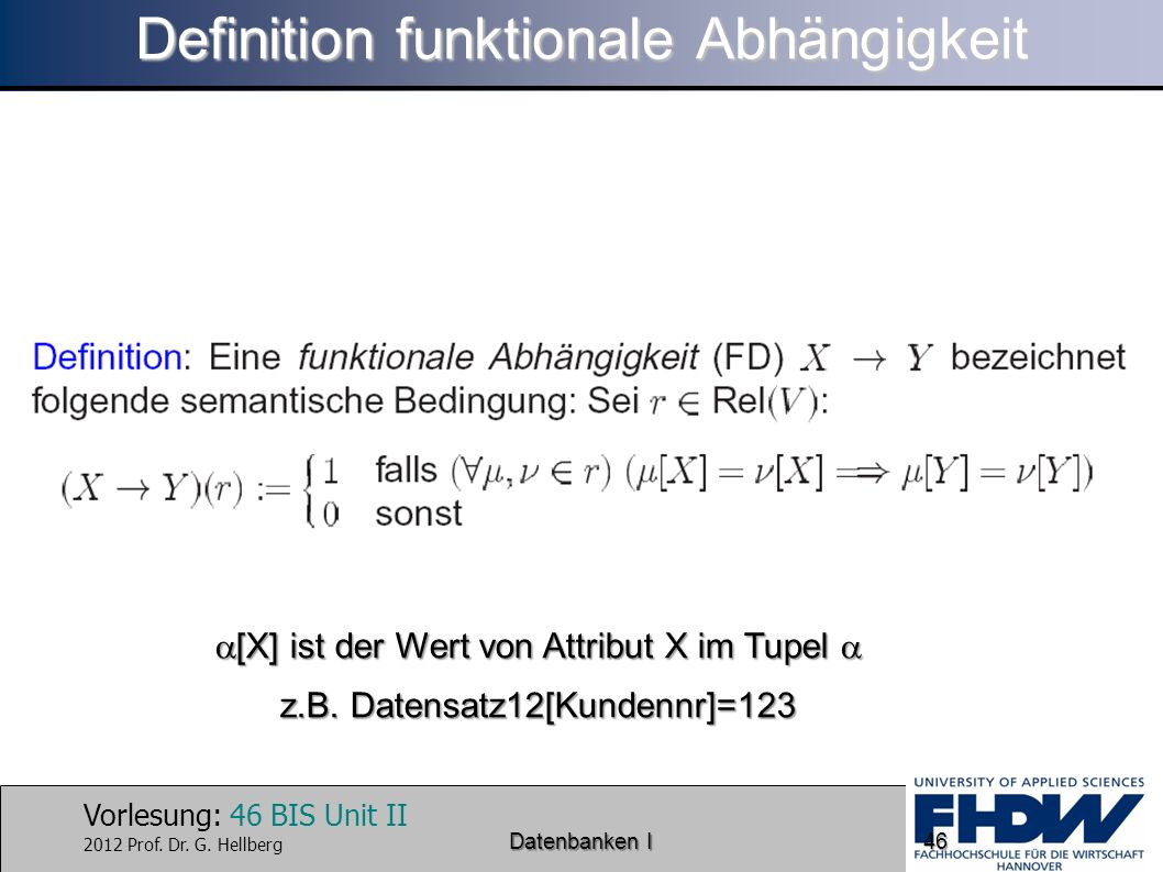 Definition funktionale Abhängigkeit
