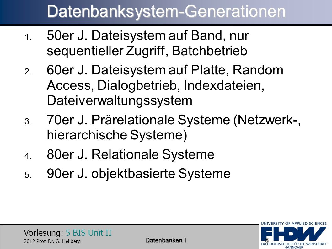 Datenbanksystem-Generationen