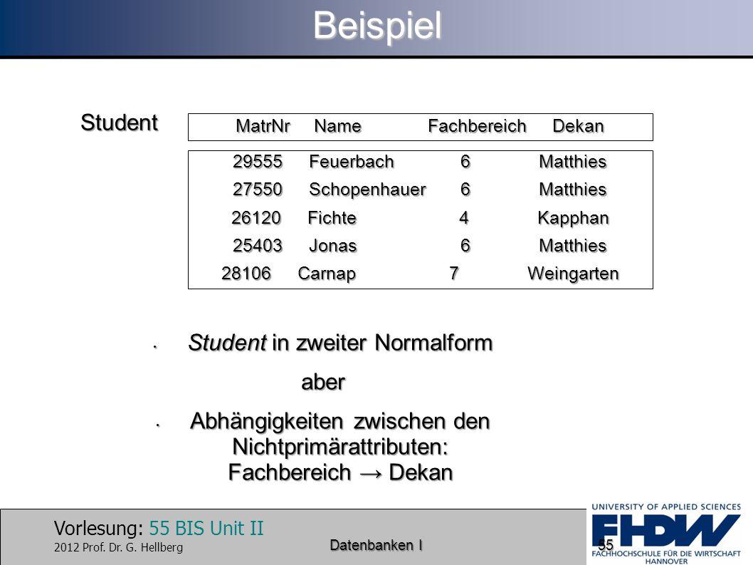 Beispiel Student Student in zweiter Normalform aber