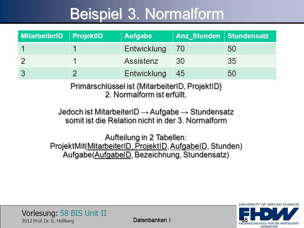 Beispiel 3. Normalform 1 Entwicklung 70 50 2 Assistenz 30 35 3 45