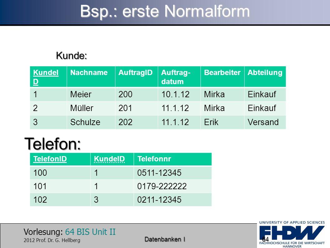 Bsp.: erste Normalform Telefon: Kunde: 1 Meier 200 10.1.12 Mirka