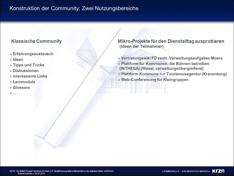 Konstruktion der Community: Zwei Nutzungsbereiche