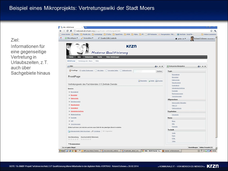 Beispiel eines Mikroprojekts: Vertretungswiki der Stadt Moers