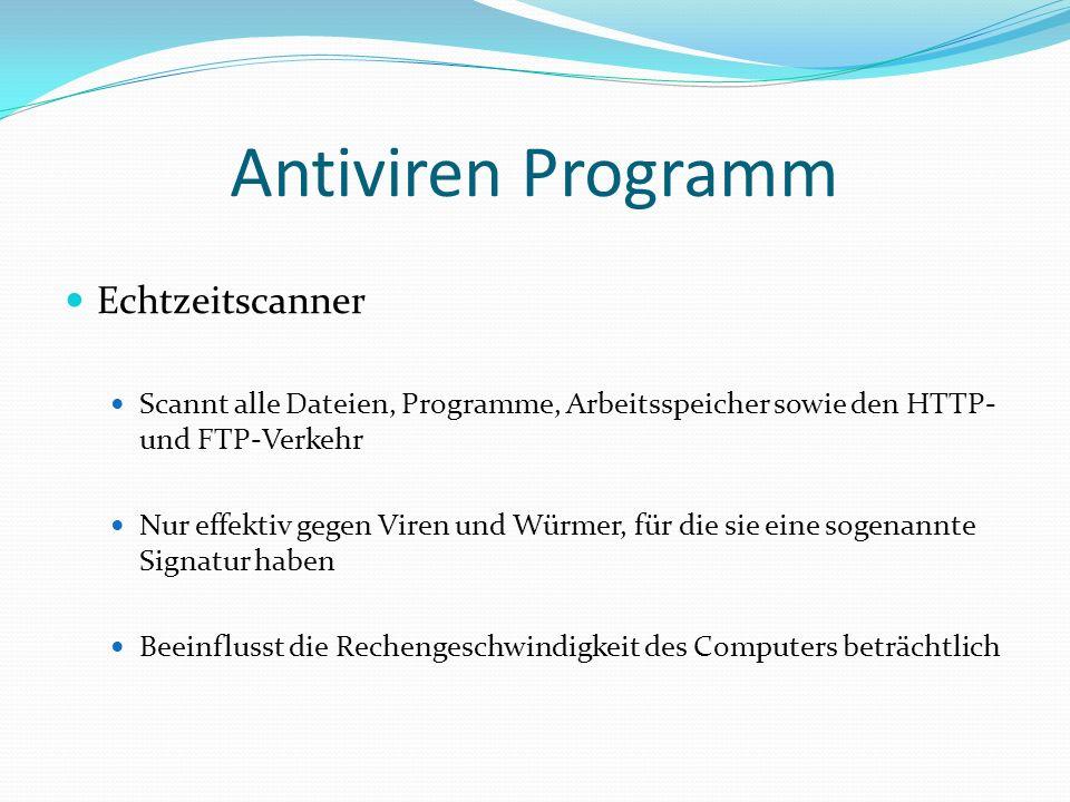 Antiviren Programm Echtzeitscanner