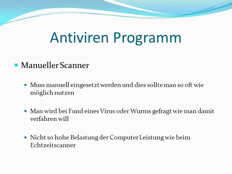 Antiviren Programm Manueller Scanner
