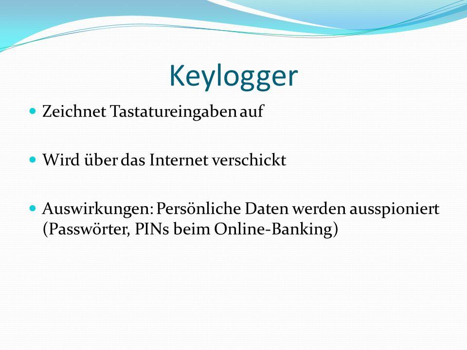Keylogger Zeichnet Tastatureingaben auf
