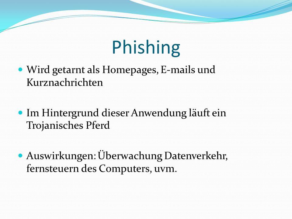 Phishing Wird getarnt als Homepages, E-mails und Kurznachrichten