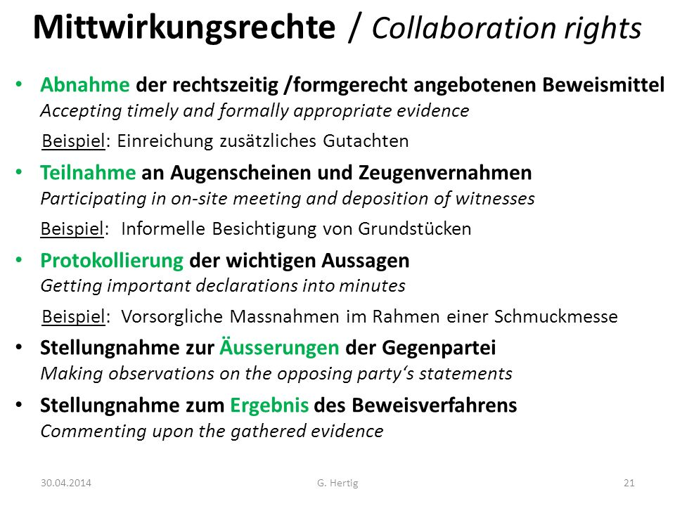 Mittwirkungsrechte / Collaboration rights