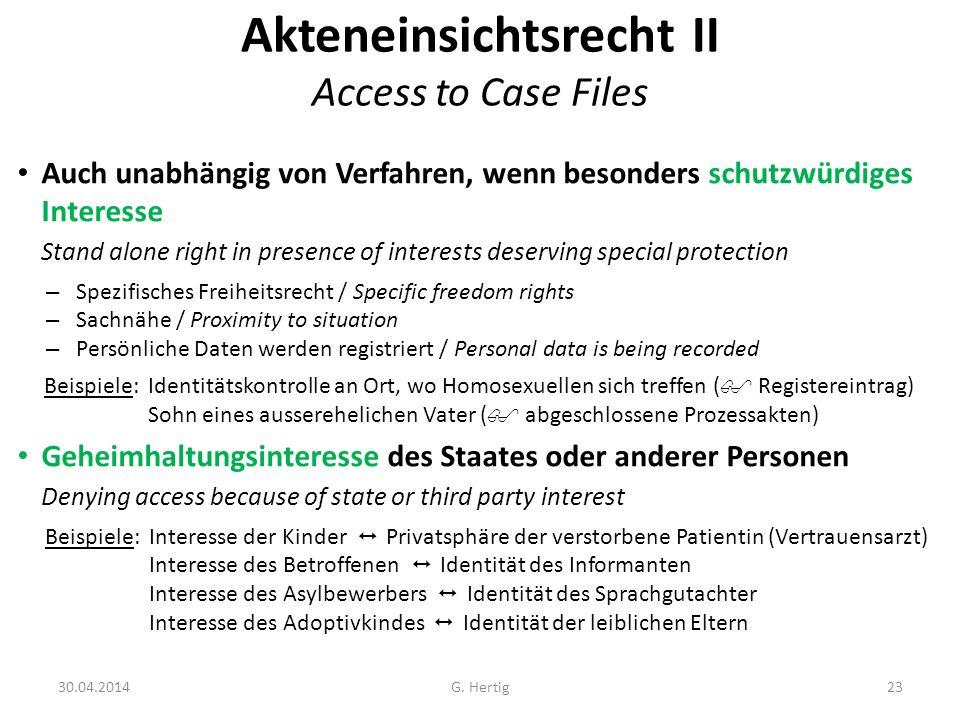 Akteneinsichtsrecht II Access to Case Files