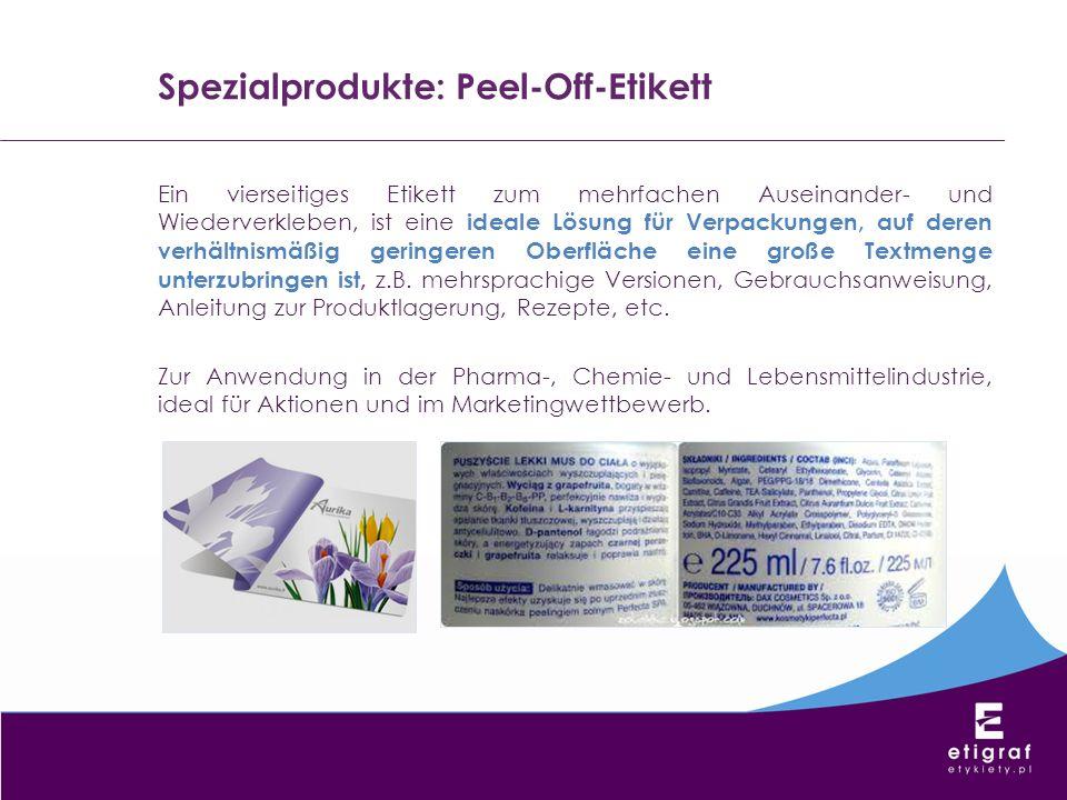 Spezialprodukte: Peel-Off-Etikett