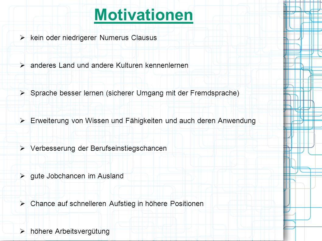 Motivationen kein oder niedrigerer Numerus Clausus