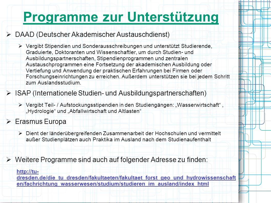 Programme zur Unterstützung