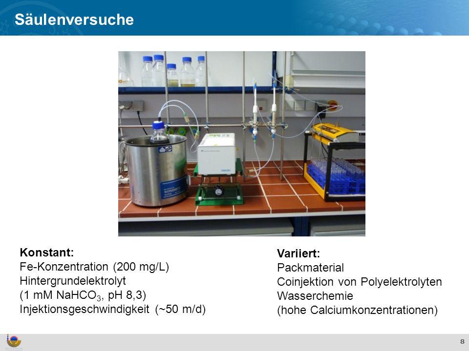 Säulenversuche Konstant: Variiert: Fe-Konzentration (200 mg/L)