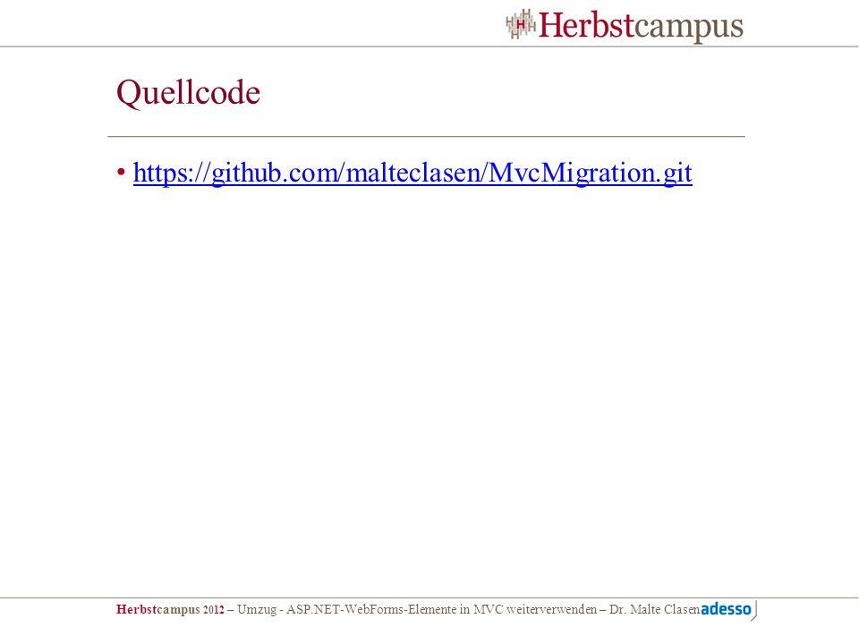 Quellcode https://github.com/malteclasen/MvcMigration.git