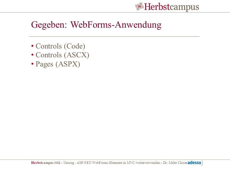 Gegeben: WebForms-Anwendung