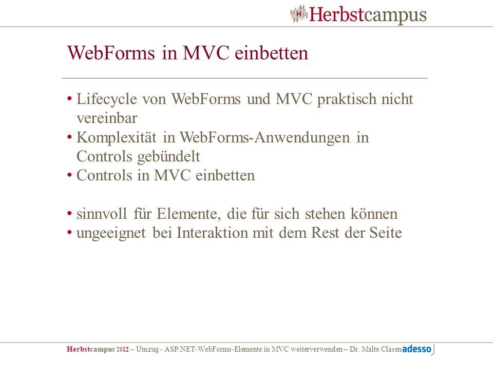 WebForms in MVC einbetten