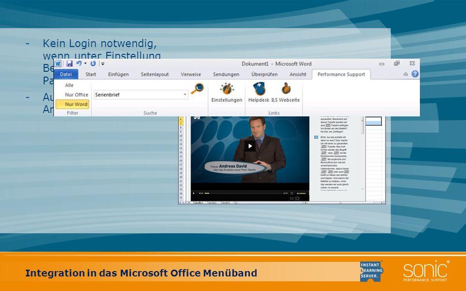 Integration in das Microsoft Office Menüband