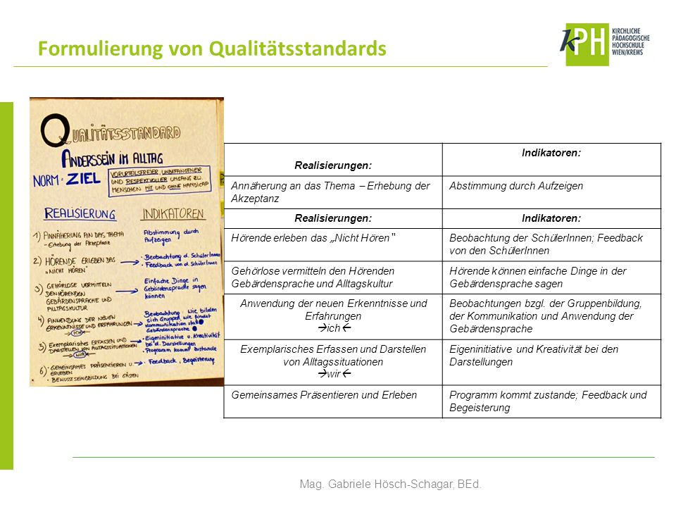 Formulierung von Qualitätsstandards