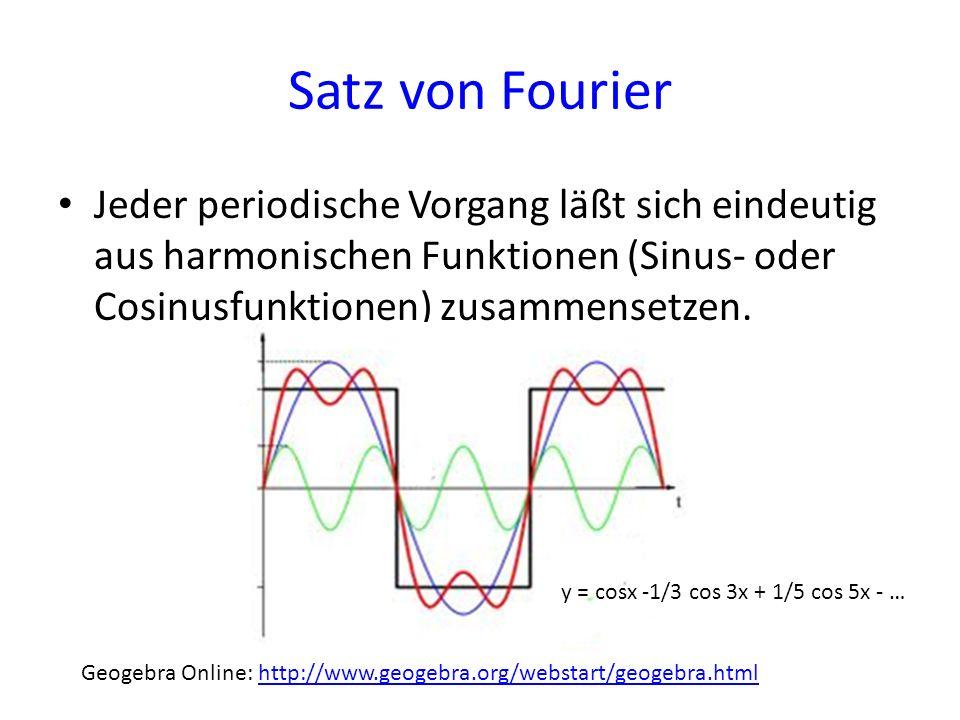 Satz von Fourier Jeder periodische Vorgang läßt sich eindeutig aus harmonischen Funktionen (Sinus- oder Cosinusfunktionen) zusammensetzen.