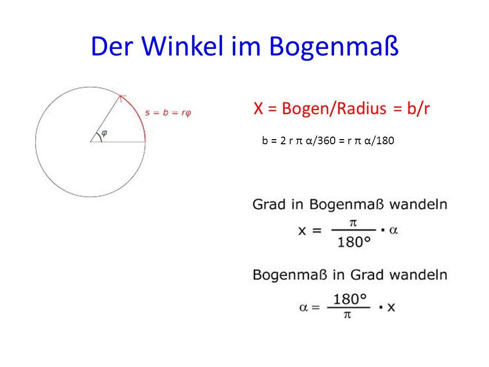 Der Winkel im Bogenmaß X = Bogen/Radius = b/r