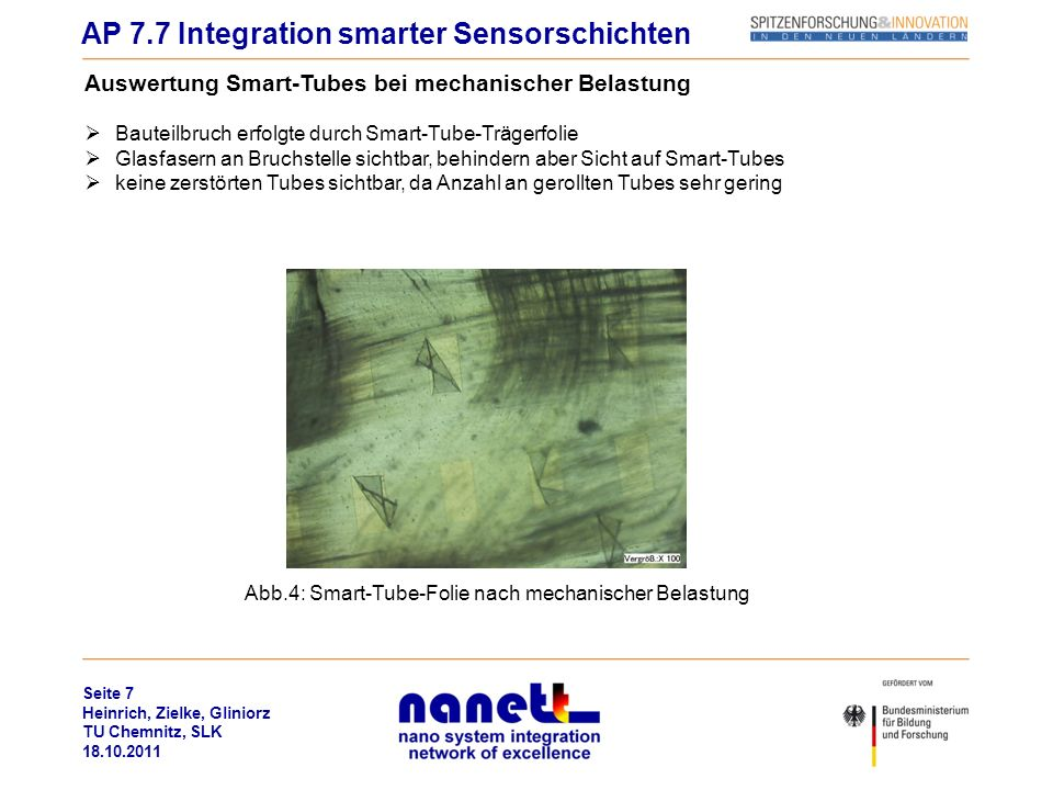 Abb.4: Smart-Tube-Folie nach mechanischer Belastung