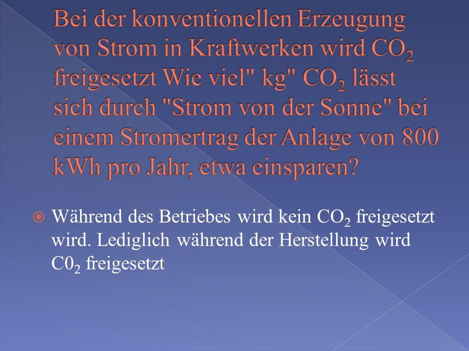 Bei der konventionellen Erzeugung von Strom in Kraftwerken wird CO2 freigesetzt Wie viel kg CO2 lässt sich durch Strom von der Sonne bei einem Stromertrag der Anlage von 800 kWh pro Jahr, etwa einsparen