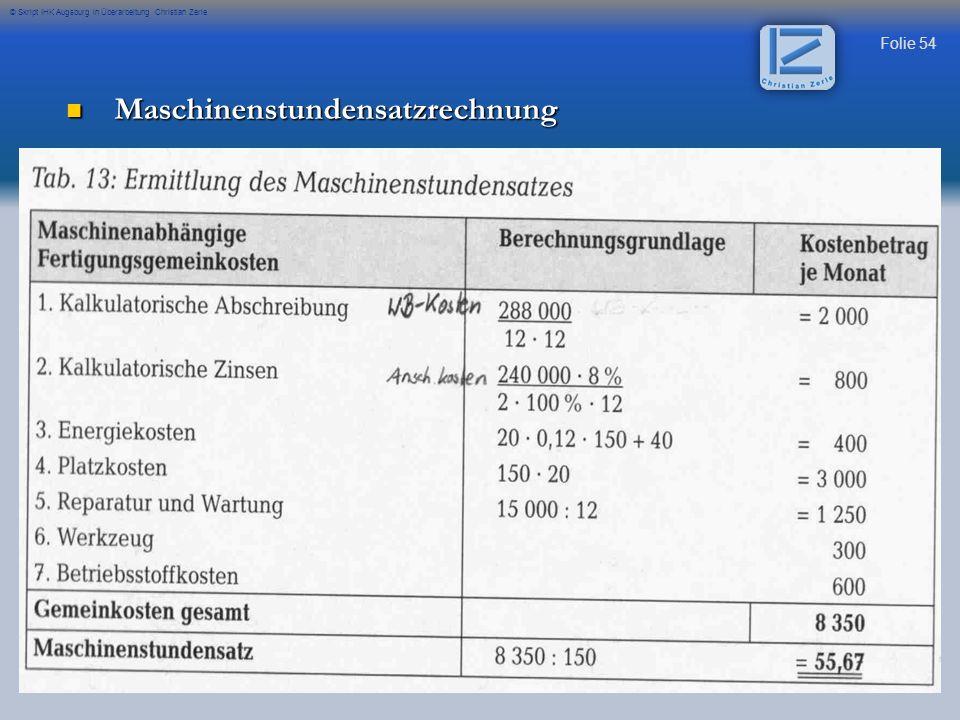 Maschinenstundensatzrechnung