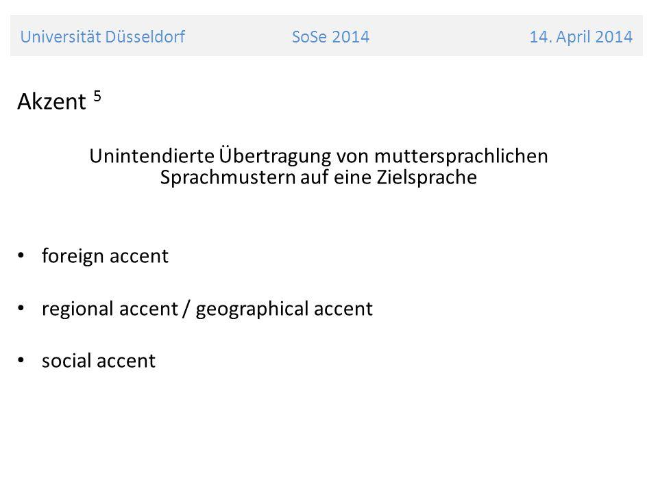 Universität Düsseldorf SoSe 2014 14. April 2014
